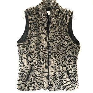 Coldwater Creek Faux Animal Print Vest M